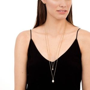 Stella and dot double pearl necklace